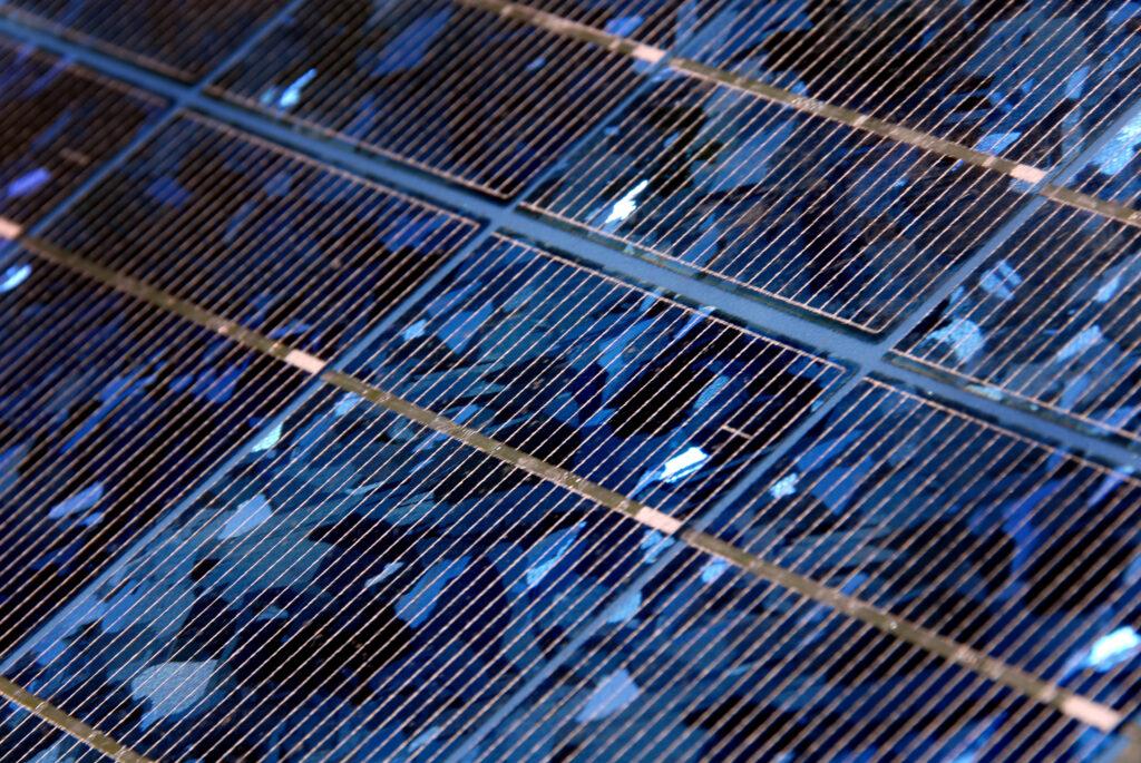 closeup image of solar PV panels